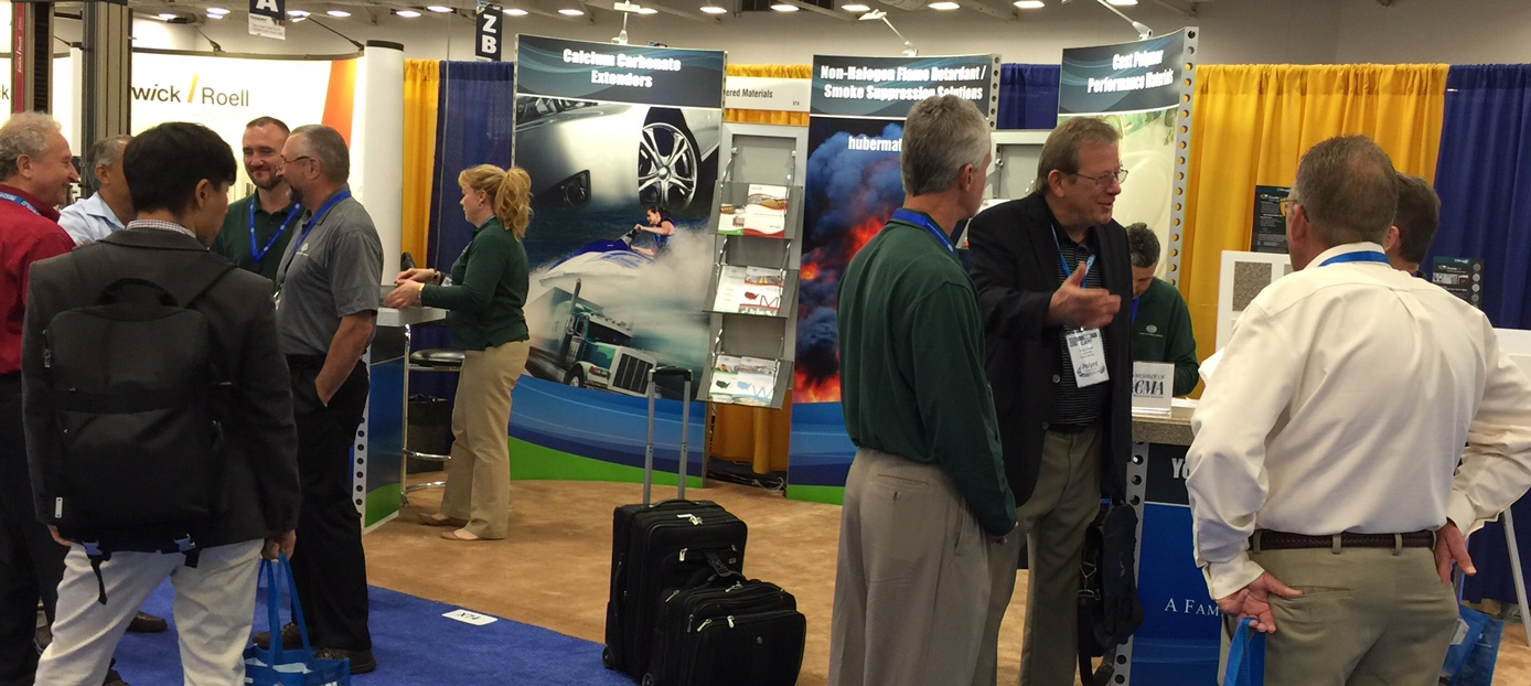 A steady stream of attendees visited Huber's booth on the opening day of CAMX 2015