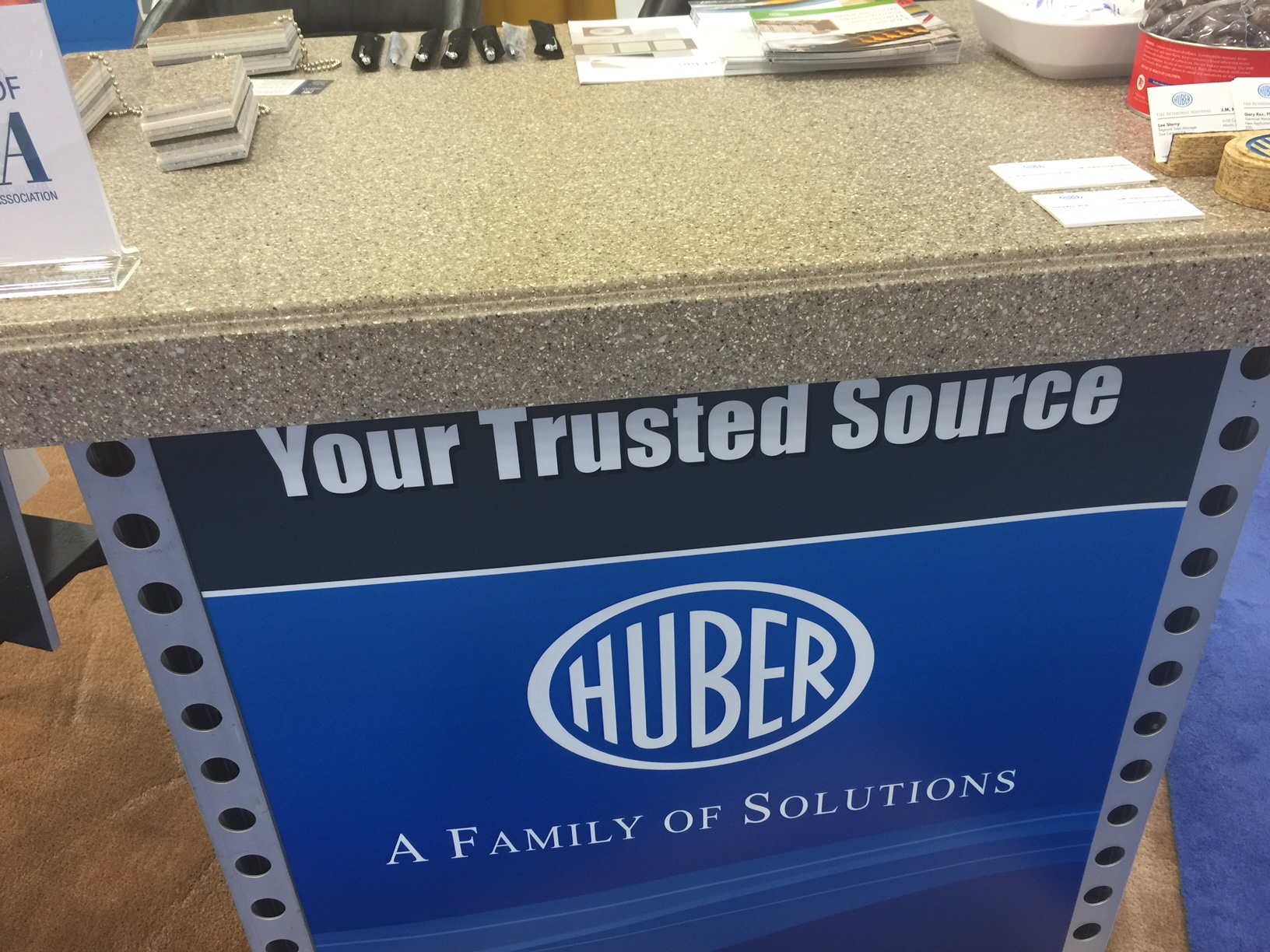 Huber's booth kiosks at CAMX in Dallas are covered with custom made Granite Elite® Infinity™ Series countertops.