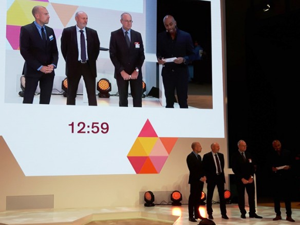 "Huber | Martinswerk partnered with Dow Elastomers and Fraunhofer LBF in delivering a key technical presentation titled ""Extinguishing Fire Hazards"" at K 2016.  On stage for the presentation are (from left) Martijn Mies of Huber 