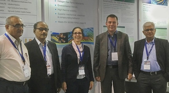 At Wire and Cable India in Mumbai, Huber | Martinswerk partnered with distributor Sharda Enterprises in hosting a successful stand. Pictured are (from left)